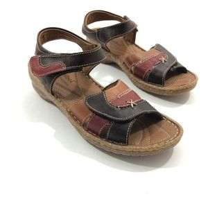 Josef Seibel tri color leather sandals size 37